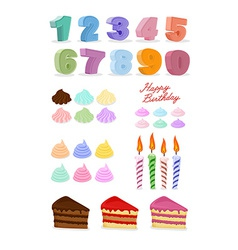 Happy birthday set Cake candles figures vector image vector image