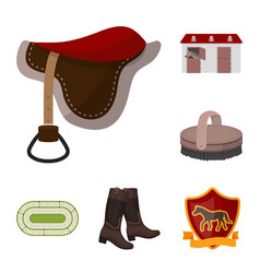 Hippodrome and horse cartoon icons in set vector