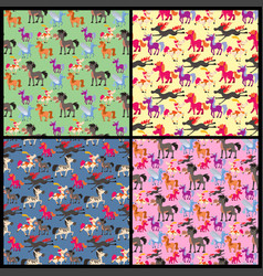 Horse pony stallion breeds color farm vector