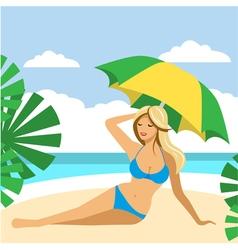 Hot girl on a beach under umbrella vector image