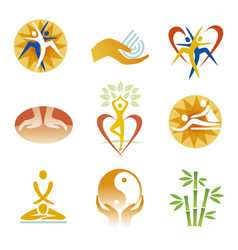 icons fitness spa massage vector image
