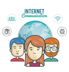Internet communication persons global graphic vector