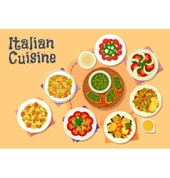 Italian cuisine healthy dishes for dinner icon vector image