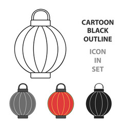 korean lantern icon in cartoon style isolated on vector image