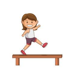 little girl athlete character vector image