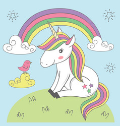 Magic unicorn and bird under the rainbow vector