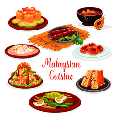 malaysian cuisine restaurant menu with asian food vector image