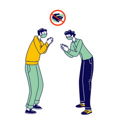Male characters clap hands greeting each other vector