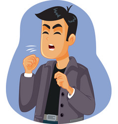 Man with respiratory disease coughing vector