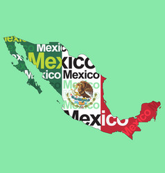 Mexican flag in mexico map vector