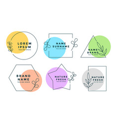 minimalist logos or monograms set six vector image