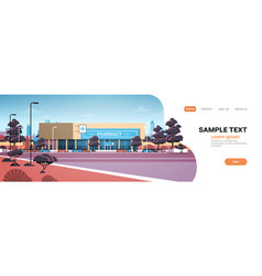 modern drugstore front view pharmacy store vector image