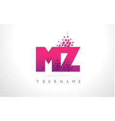 Mz m z letter logo with pink purple color and vector
