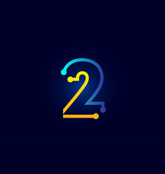 Number 2 in blue and orange color for logo icon vector