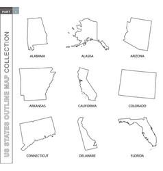 Outline maps us states collection nine black vector