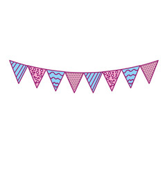Party flags to decoration happy birthday vector