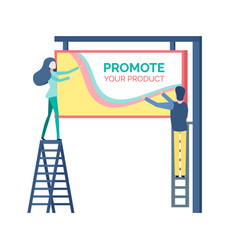 People standing on stairs near billboard vector
