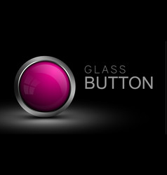 pink glass round button for software interface vector image