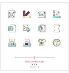 Printing Process Line Icons Set vector