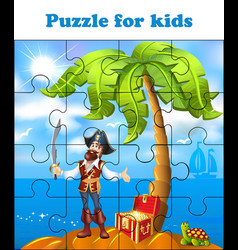 Puzzle game for children pirate on treasure vector