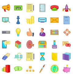 realisation icons set cartoon style vector image
