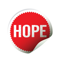 red sticker and text hope vector image