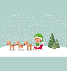 santa helper with carriage and reindeer snowscape vector image