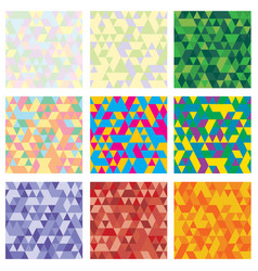 set 9 geometric pattern mosaic texture with vector image
