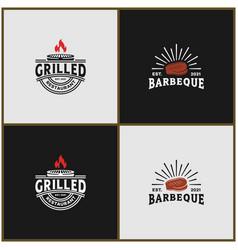 Set bundle vintage grilled rustic barbecue logo vector