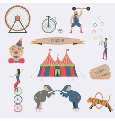 set circus flat icons vector image