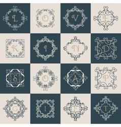 set elegant monogram design vector image