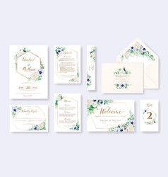 Set floral wedding invitation card rsvp vector