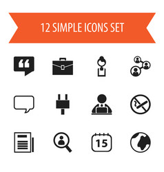 set of 12 editable bureau icons includes symbols vector image