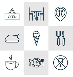 Set of 9 food icons includes board dining room vector