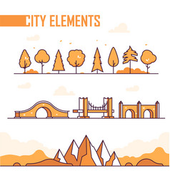 set of city elements - modern isolated vector image