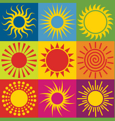 set of different sun icons vector image