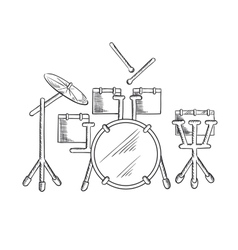 Sketch of drum set with traditional kit vector image