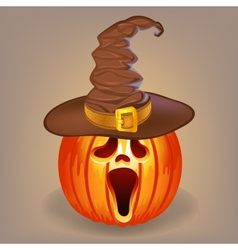 Sly pumpkin in a witch hat for Halloween vector image
