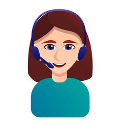 smiling call center operator icon cartoon style vector image