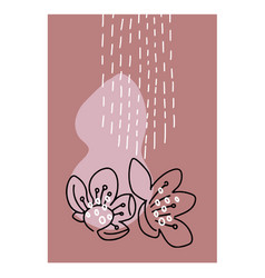 spring flowers continuous line art abstract vector image