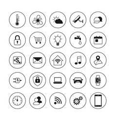 technology icons smart house icons set internet vector image