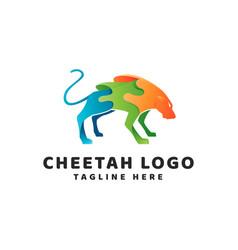 Tiger cheetah gradient modern logo vector