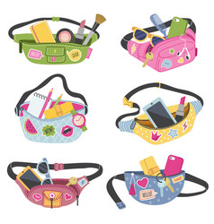 trendy waist bags fashioned fancy wallets for vector image