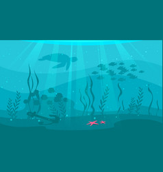 Underwater background with sea flora vector