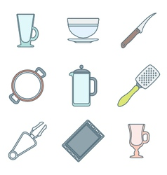 various color outline dinnerware icons set vector image