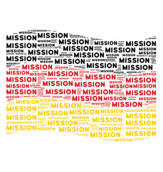 Waving german flag mosaic of mission text items vector