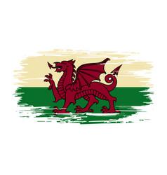Welsh flag brush grunge background vector