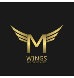 Wings M letter logo vector