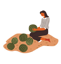 woman at plantation holding ripe watermelons vector image