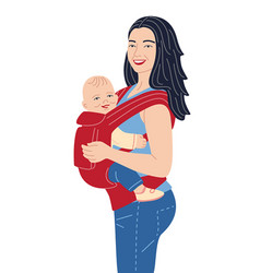 Young mother holding baby in ergo backpack vector